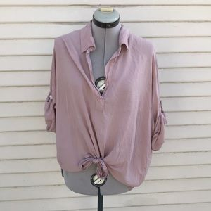 Brandy Melville blush muscle tie blouse top o/s